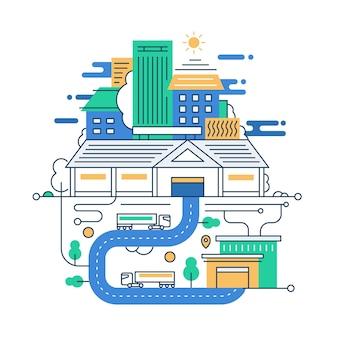 Иллюстрация современной линейной городской композиции с городскими зданиями и элементами городской инфографики