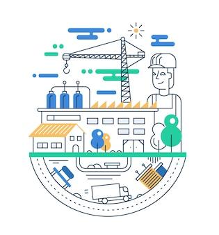 Иллюстрация современной линейной городской композиции с людьми, заводскими зданиями и элементами промышленной инфографики