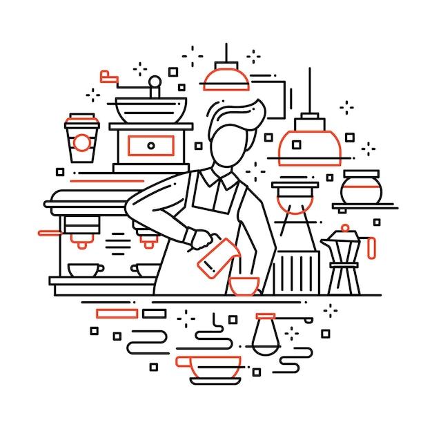 男性のバリスタがカフェカウンターでコーヒーを作って提供するモダンなライン構成のイラスト