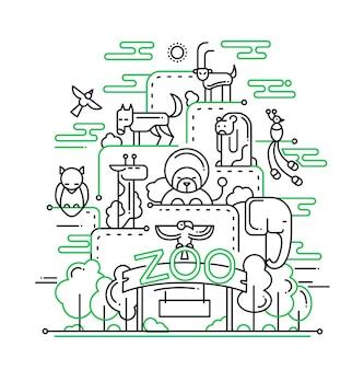 야생 동물과 현대적인 라인 동물원 구성 및 인포 그래픽 요소의 그림