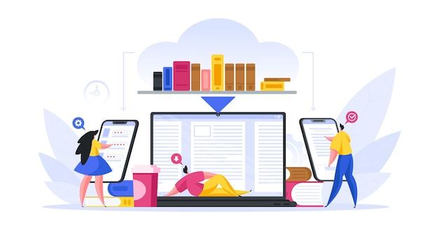 Иллюстрация современных мужчин и женщин, использующих цифровые устройства