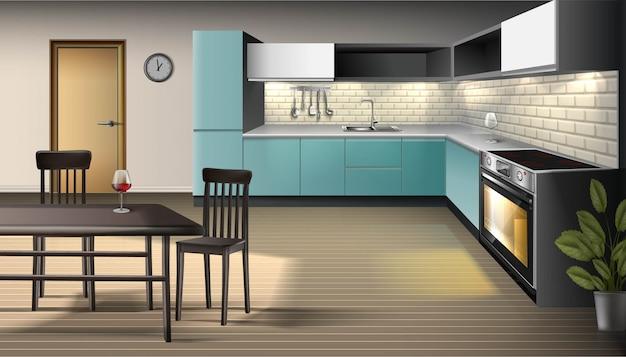 Иллюстрация современного реалистичного интерьера кухни с посудой, духовкой с подсветкой, шкафами, полками с барными стульями и барным столом.