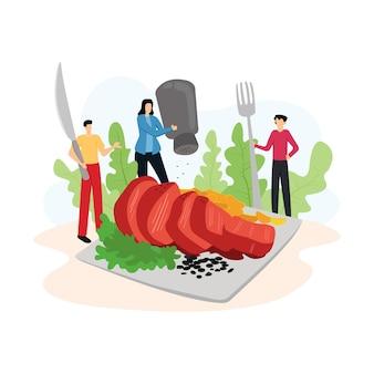 Иллюстрация современной с людьми ест стейк