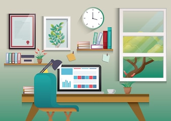 Illustration of modern workplace in room