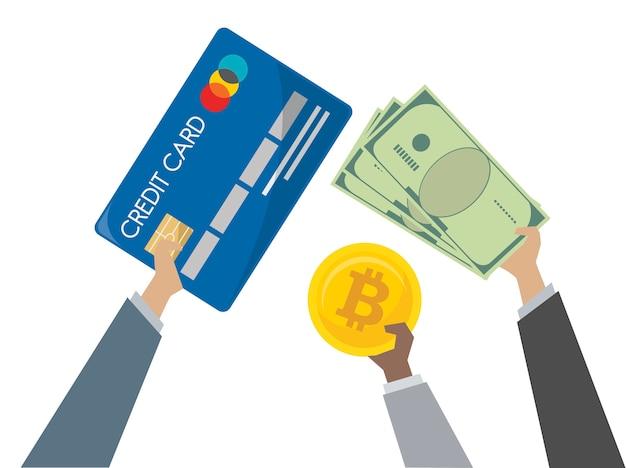 Иллюстрация обмена денег и банковских операций
