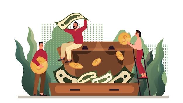 お金の保護、貯蓄のイラスト。経済と金融の富のアイデア。通貨の節約。黄金のコインとスーツケースの紙幣。