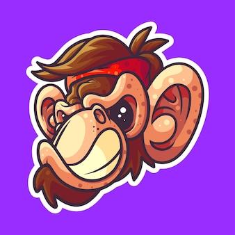 스티커, 아이콘, 티셔츠 및 관련 비즈니스에 적합한 원숭이의 그림