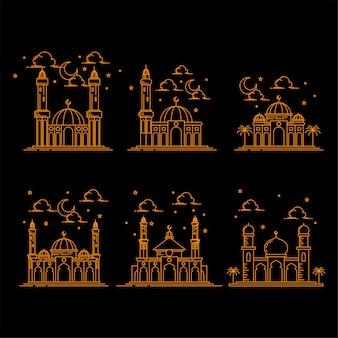 モスク建物ラインアートデザインのイラスト分離黒背景