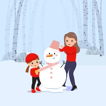 一緒に雪だるまを作って飾る母と娘のイラスト。冬のアクティビティ。