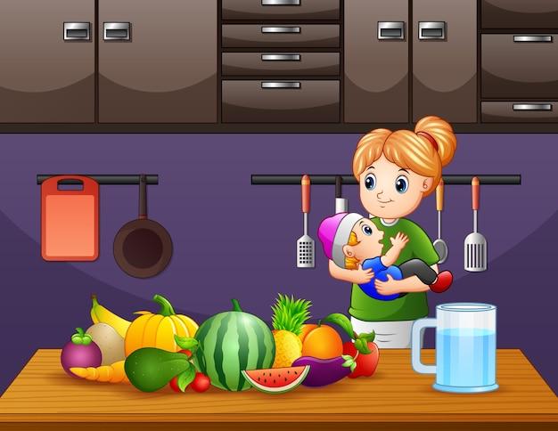 Иллюстрация матери и сына на кухне
