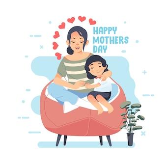 彼女の娘と彼女の母親の膝の上に座っている母のイラスト、幸せな母の日のグリーティングカード。グリーティングカード、ポスター、その他に使用