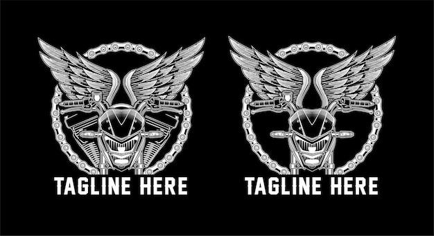 チェーンフレームとオートバイのハンドルバーと翼のイラスト