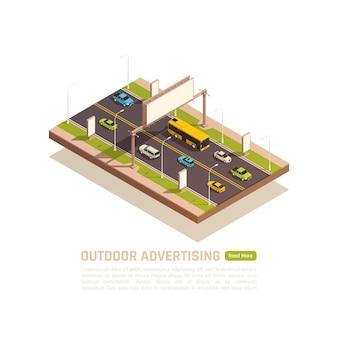 Иллюстрация автомагистрали с автомобилями и пустыми рекламными щитами с редактируемым текстом