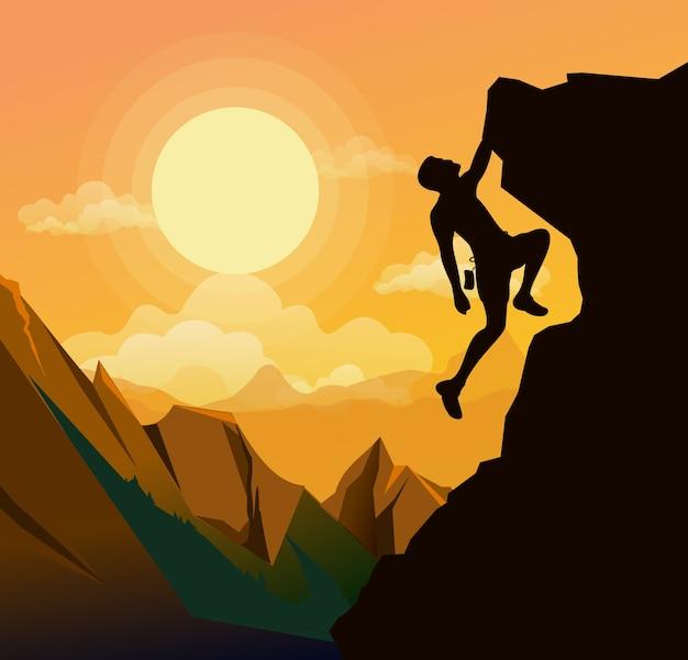 の夕日を背景に山の岩に登山男のイラスト。動機の概念。