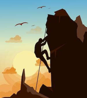 鳥の背景と夕焼け空の山の岩に登山男のイラスト。動機の概念。