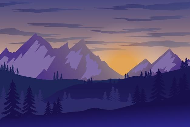 Иллюстрация горного пейзажа в стиле. элемент для плаката, флаера, презентации, брошюры. образ