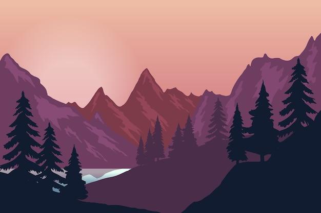 山の風景のイラスト