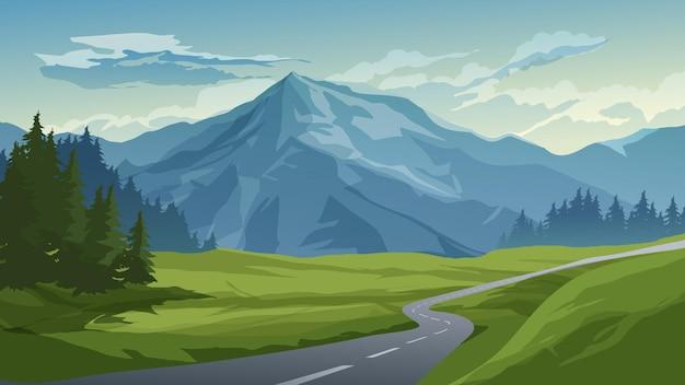Иллюстрация горы с пустой дорогой и лугом