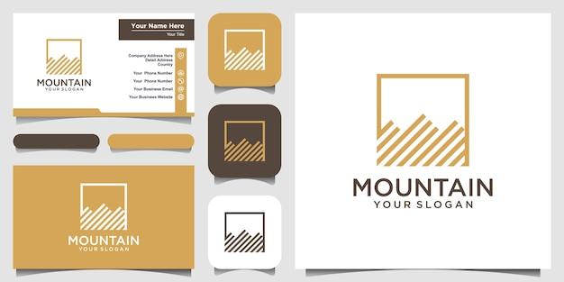 Иллюстрация горы с логотипом в стиле арт-линии и дизайном визитной карточки