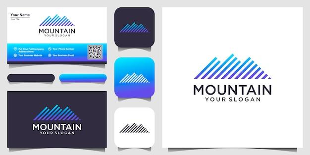 Иллюстрация горы с логотипом в стиле арт-линии и визитной карточкой