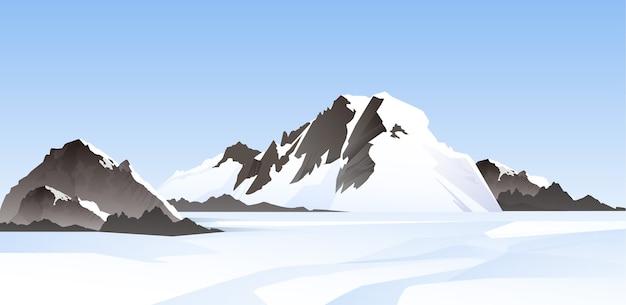 雪に覆われた山頂のイラスト。冬のパノラマ風景の壁紙
