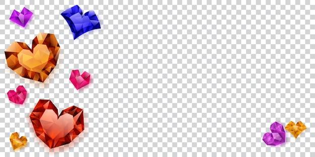 투명한 배경에 그림자가 있는 크리스탈로 만든 여러 가지 빛깔의 하트 그림