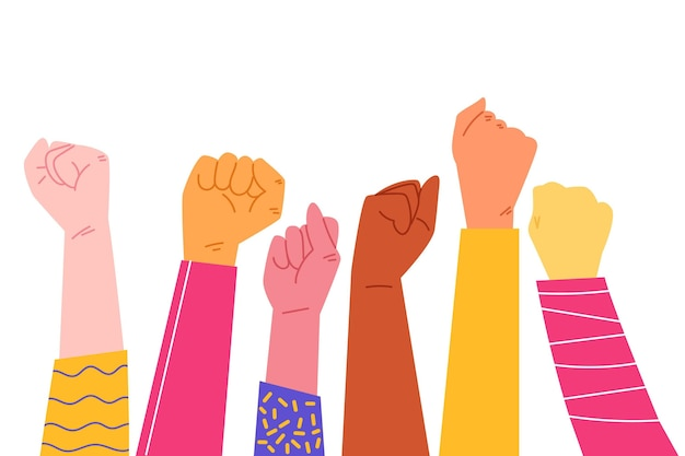 Иллюстрация многорасовых поднятых кулаков