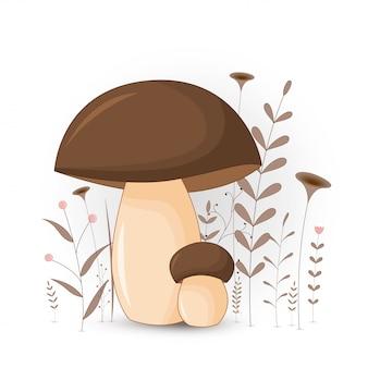 Иллюстрация грибов. изолированный