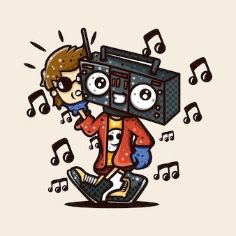 キャラクターステッカーtシャツの音楽の人々のイラスト