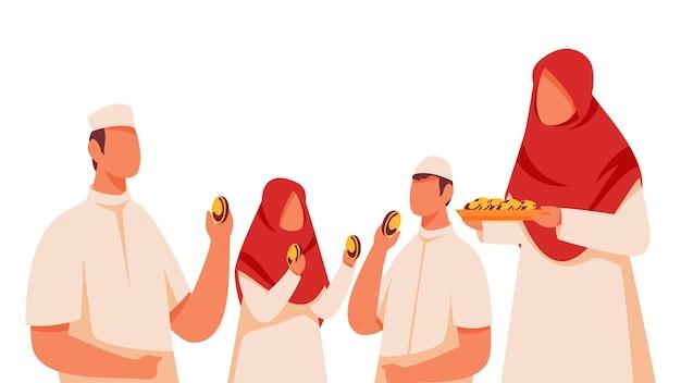 흰색 배경에 과자 축제를 축하하는 이슬람 가족의 그림.