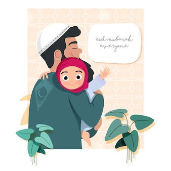 イードムバラクコンセプトのイスラムパターンの背景に彼の娘と葉を持ち上げるイスラム教徒の父のイラスト。