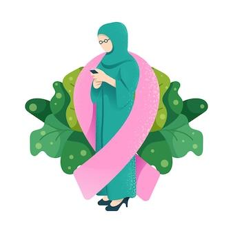 ウェブサイト、モバイルアプリケーション、印刷物の乳がんの日のイスラム教徒の女性のイラスト