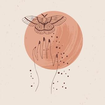 Иллюстрация мистических и эзотерических логотипов в модном минималистичном линейном стиле. эмблемы в стиле бохо - луна, рука и моль.