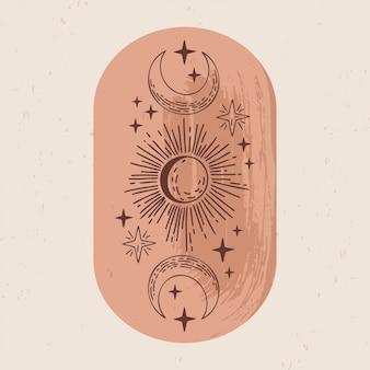 Иллюстрация мистических и эзотерических логотипов в модном минималистичном линейном стиле. эмблемы в стиле бохо - луна, солнце и звезды.