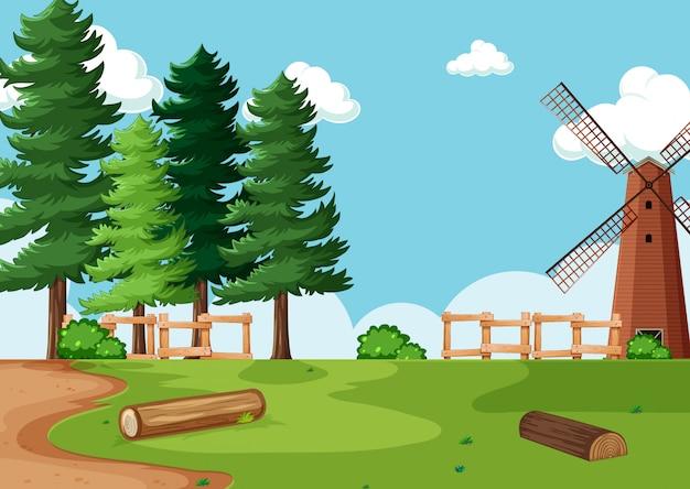 자연 농장 풍경의 그림