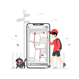 ナビゲーションアプリのコンセプトのイラスト