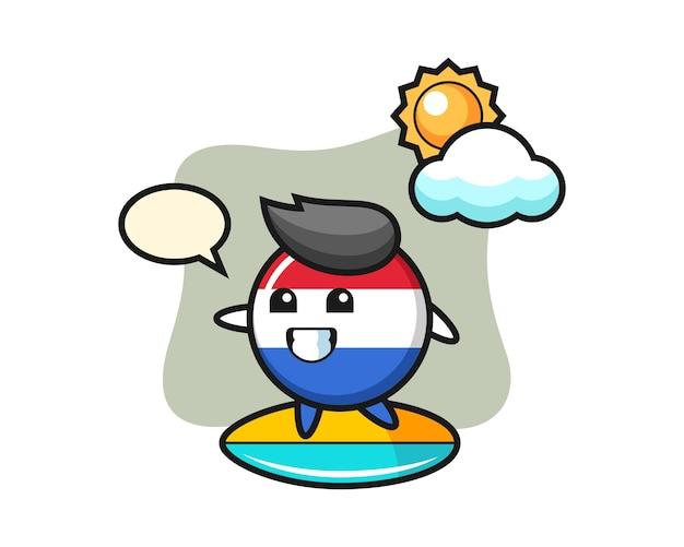 네덜란드 국기 배지 만화 그림 해변에서 서핑을