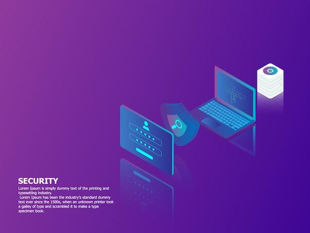 Иллюстрация концепции безопасности сети вектор изометрии фон