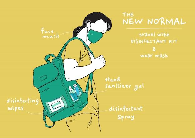 新しい通常のライフスタイルのイラスト。家に出るとき、マスクを着用し、消毒キットを運ぶ男。ウイルス、コロナウイルス(covid-19)から身を守ります。