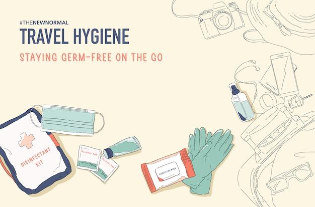 새로운 일반 라이프 스타일의 그림입니다. 위생 제품으로 안전하게 여행하십시오. 소독제 키트. 세균, 박테리아 및 바이러스로부터 자신을 보호하십시오. 코로나 바이러스 (코로나 19)