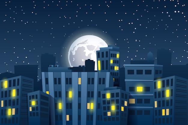 Иллюстрация ночного городского пейзажа с луной