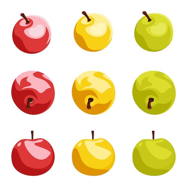分離された様々な色の9つのリンゴのイラスト
