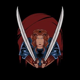 Tシャツのデザインのための血まみれの夜に剣を持った忍者のイラスト