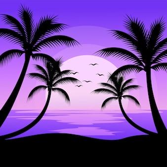 Иллюстрация океанского заката с силуэтом кокосовой пальмы