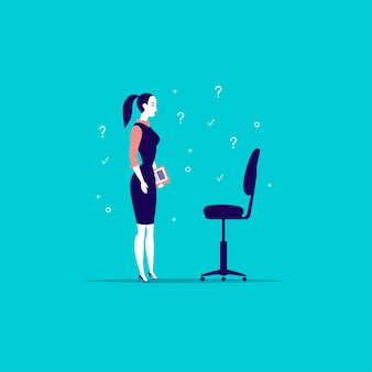 검은 의자 앞에 서있는 사무실 아가씨의 그림