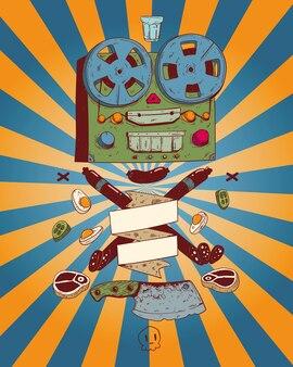 古い孤立したテープレコーダーと様々な食べ物のイラスト