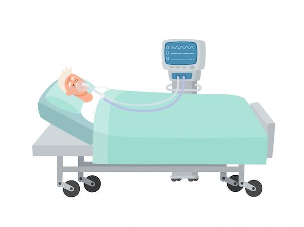 酸素マスクとベンチレーターを白で隔離され、病院のベッドで横になっている老人のイラスト、コロナウイルス感染中に蘇生中の男