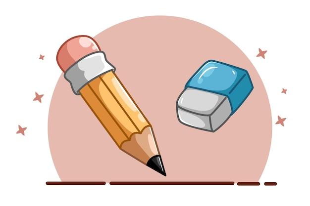 1本の鉛筆と1本の消しゴムのイラスト