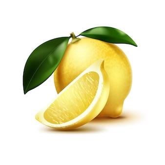 Иллюстрация одного целого лимона с листьями