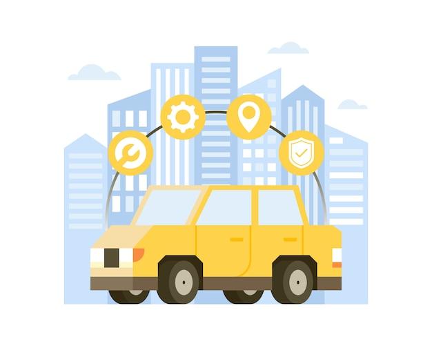 オンライン車サービスのイラスト
